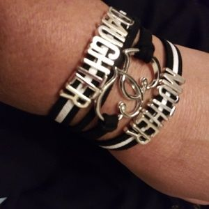 Brand new black and white mother daughter bracele